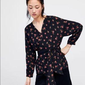 Zara Floral Black Red Wrap Top Kimono Style Blouse